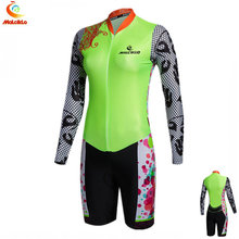 Women Fluo Yellow Cycling Jumpsuit Sets lady V-neck Elastic Bicycle Jersey Girls Suit Coveralls Ciclismo Triathlon Bike Clothing