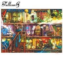 FULLCANG Handmade Mosaic 5d Diamond Painting Dream Bookshelf Cross Stitch Diy Full Square Embroidery Kits G664