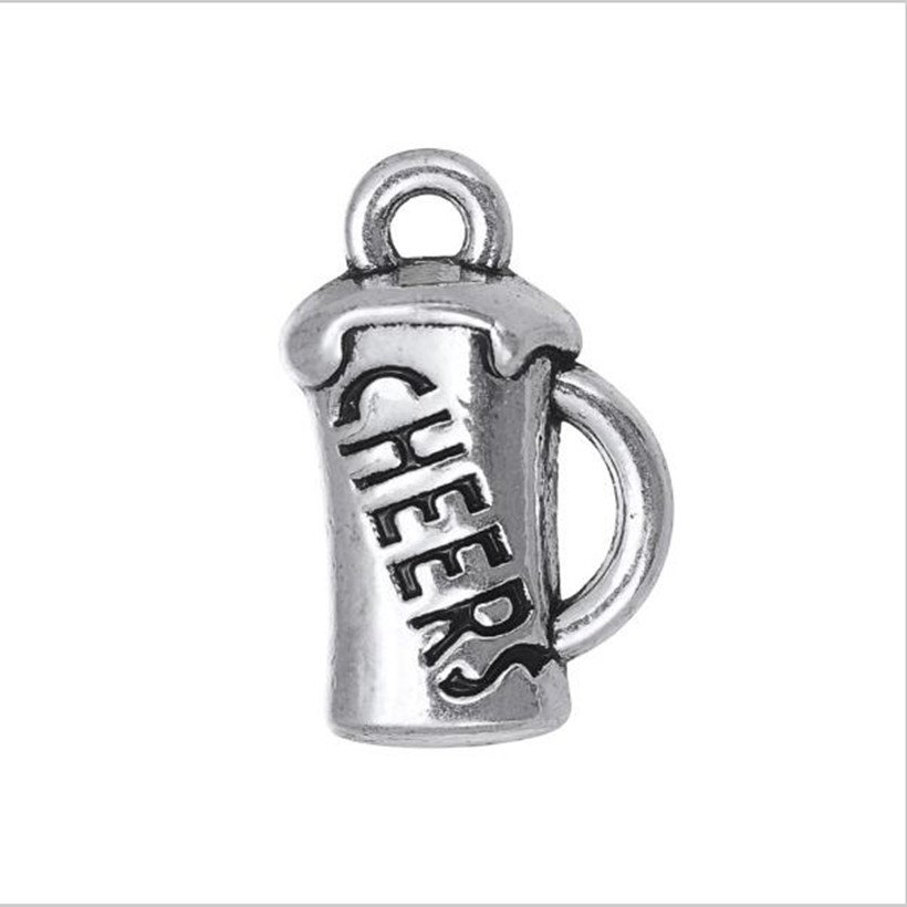 Skyrim DIY Handmade Findings Crafts Necklaces&Bracelets Jewelry Making Engrave Cheers' Beer Mug Cup Message Charms 10Pcs