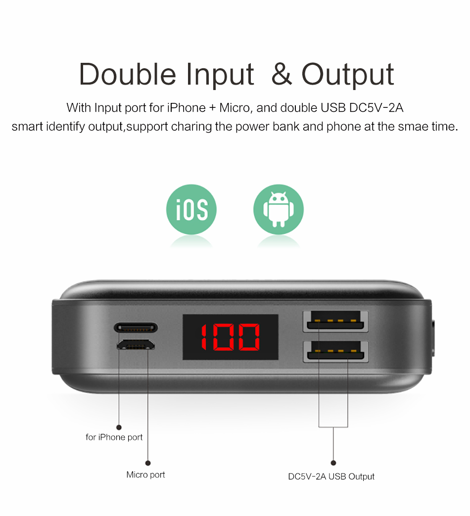 Power Bank 000mAh USAMS LCD Portable PowerBank External Battery Dual USB Charger For Xiaomi iPhone 7 6 6S 5 Mobile Phones Tab 12