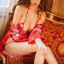iShine 2017 New Arrival Women sexy kimono Bathrobe Deep V Three point erotic underwear Cosplay Silk Pajamas Ladies lingerie