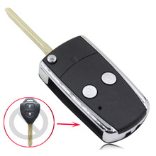 Modified 2 Button Folding Flip Remote Key Fob Case For Toyota Camry Corolla Yaris Hilux Shining Metal Frame Key Cover Shell New