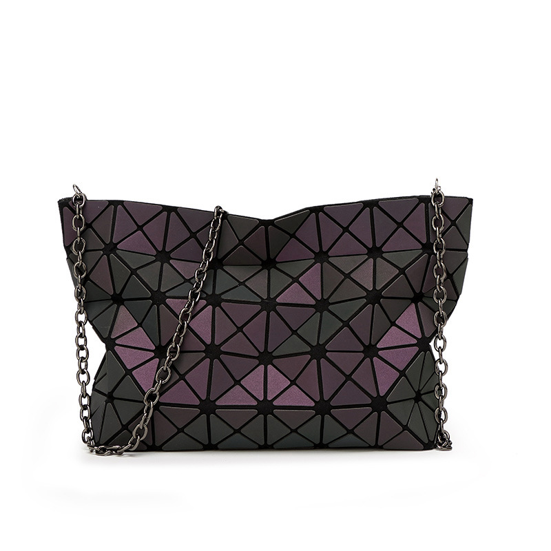 Luminous Women Bags Geometric Luxury Brand Ladies Chain Shoulder Bags Diamond Lattice Handbag sac femme Crossbody Bag<br>