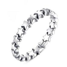 SHUANGR Hot Sale Silver Color Five-pointed Star Ring Wedding Jewelry Fashionable Finger Ring For Women 4 Sizes For Choose