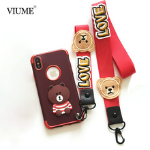 VIUME case for iPhone 7 8 Silicone Cases for iPhone7 8 Plus Fashion 3D Cartoon Bear case for iPhone X 10 Shockproof Straps Capa(China)