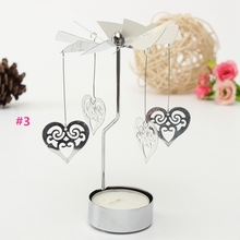 Lovely Romantic Love Heart Candle Holders Revolving Rotation Candlestick Candleholder Candle Tea Light Holder Holiday Decor