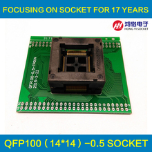 TQFP100 FQFP100 QFP100 to DIP100 Programming Socket OTQ-100-0.5-09 Pitch 0.5mm IC Body Size 14x14mm Test Adapter