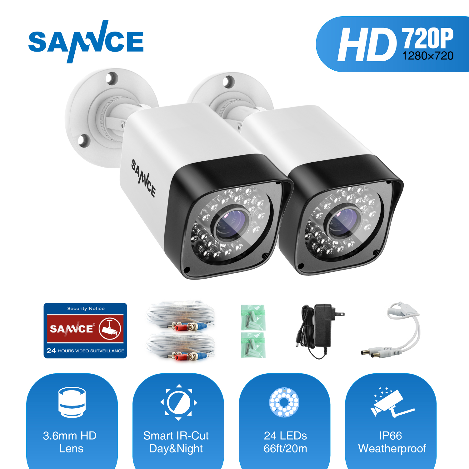 SANNCE TVI 720P 2PCS 1200TVL Bullet CCTV Camera Suite 1.0MP Waterproof IR-Cut Night Vision Camera For Surveillance System Kit BW