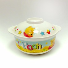 Winnie the Pooh Shock-resistant Bowl with Lid Melamine Soup Bowl Topgrade Fruit Tray Melamine Tableware For Dinner Soup Bowl Set(China)