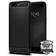 100% Original OnePlus 5 Rugged Armor Case Carbon Fiber Texture Flexible  Military Grade Cases for OnePlus 5 with Retail Package