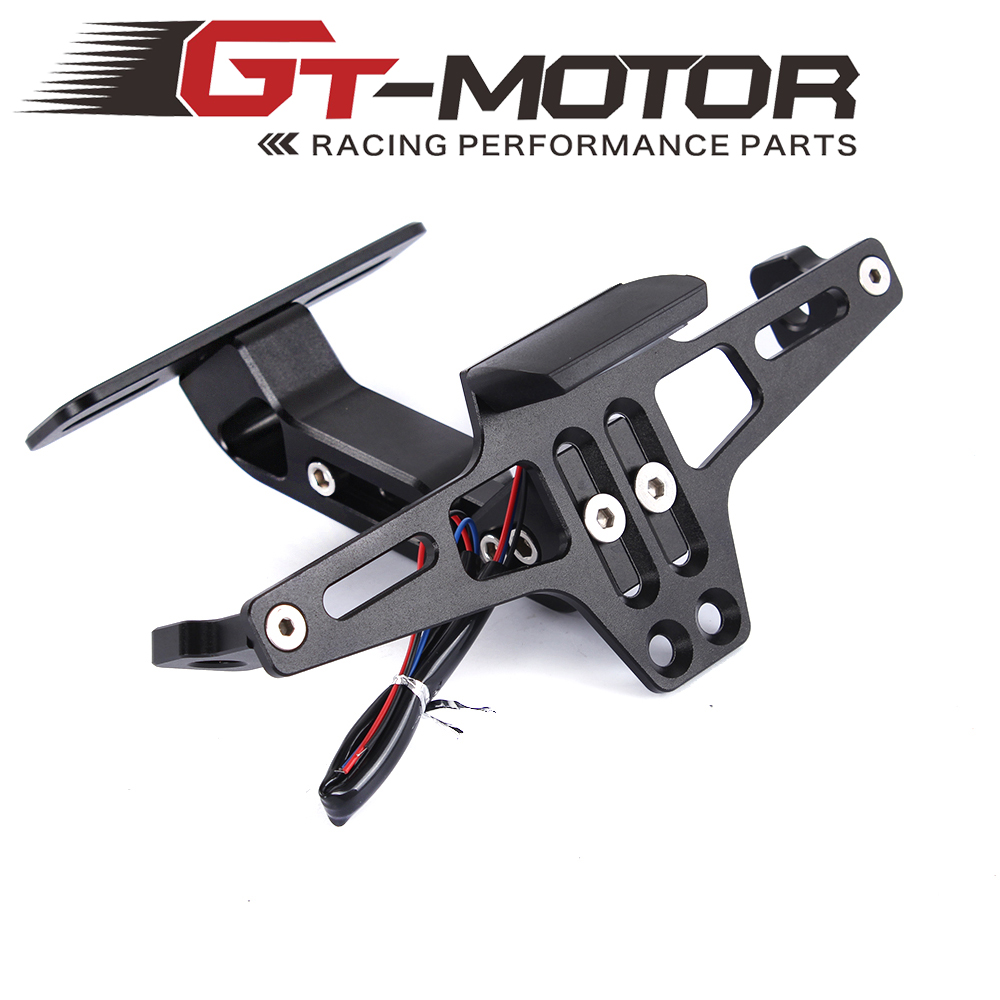 GT Motor - Motorcycle full CNC Adjustable Angle Aluminum License Number Plate with LED light Frame Holder Bracket Universal(China)