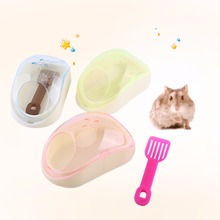Cute Transparent Plastic Pet Hamster Mouse Bathroom Bath Sand Sauna Toilet Potty Box With Shovel Hamster Gerbil Rodent Mice Cage(China)