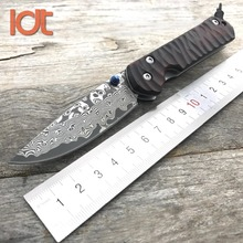 LDT CR Sebenza Ikosi Folding Knives Damascus Blade Red Sandalwood Handle Pocket Hunting Outdoor knife Camping Survival EDC Tools
