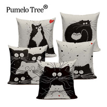 Soft Cotton Black And White Cat Family Cat Cartoon Bedding Set 45Cmx45Cm Square Kids Birthday Decorative Printed Pillow Case(China)