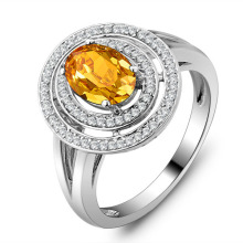 Genuine 925 Fine Jewelry Natural Citrine Ring 925 Sterling Silver Party Rings For Women (come with box) (JewelOra RI101418)