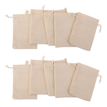 10pcs 10*14.5cm Handmade Jute Burlap Hessian Drawstring Gift Wedding Favor Bags For Soap Jewelry Christmas Coffee Beam Packaging