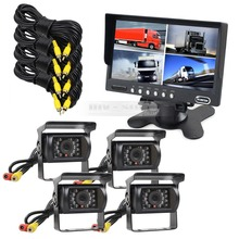 DIYSECUR 7inch Split QUAD Video Security Monitor Truck Horse Rear View Kit + 4 x CCD Camera Waterproof Security System