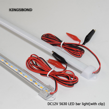 Portable 5PCS/Lot 50CM DC12V LED Bar light 5730 5630 With PC cover 5730 LED Rigid light 5630 LED hard strip with alligator clip(China)