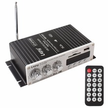 Lepy USB Mini Car Power Amplifier Support USB SD MMC DVD CD FM MP3/4 with Remote Controller(China)