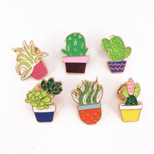 Bovvsky small Cute Cactus Pots Orchid Metal Brooch Pins Button Pins Bag Decoration Lapel Pin tree plants brooch
