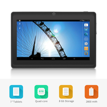 "Shipping from USA Yuntab 7"" A33 Quad Core 1.5GHz four Colors Q88 7 inch Tablet PC 1024 x 600 Dual Camera 2500mAh 8GB"