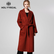 HOLYYREAL High-end Women's Wool Coat 2018 Spring New Collection Ladies's Wool Outerwear With Belt Office Lady Elegant Garment(China)
