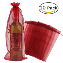 10pcs Sheer Organza Wine Bottle Cover Wrap Gift Bags (Wine Red)(China)
