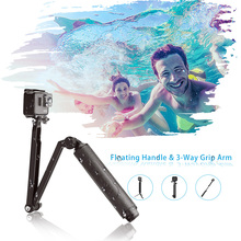 3-Way Grip Arm Monopod Pole Tripod waterproof Selfie Stick длинная плавающая рукоятка для Xiaomi YI SJCAM eken GoPro Hero 7 6 5 4 3(China)