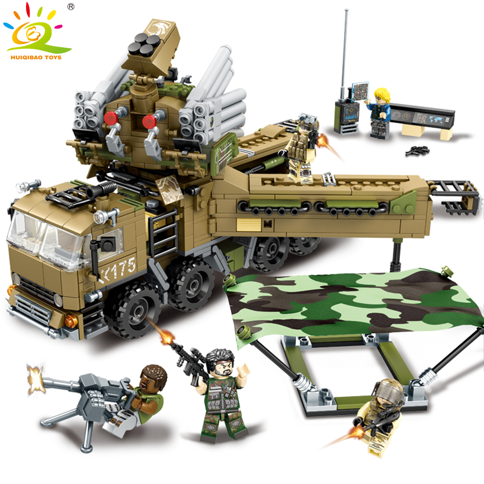 704pcs Military Army soldier Command Vehicle Truck Building Blocks Compatible legoed City Police Figures Enlighten children Toys<br>