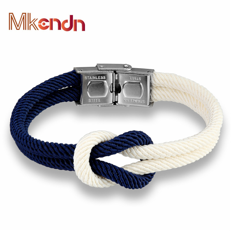 MKENDN Hot Sale High Quailty Men Women Macaron color Knot Leather Stainless Steel Buckle Navy Style Friendship Jewelry Pulseras(China (Mainland))