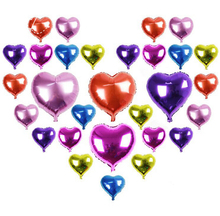 Free shipping 10pcs /lots 18inch aluminum balloons heart shaped decorated birthday party balloons valentines day baloes de festa(China)