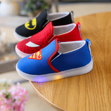 Boys Shoes With Light Spring Autumn Canvas Spiderman Lighted Fashion Led Sneakers Kids Sport Brand Light Girls Shoes EU 21-30