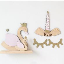Wooden Indian Crown Unicorn Rabbit Ear Wall Hanging For Kids Baby Room Decoration Nordic Style Home Decor Children Gift Idea