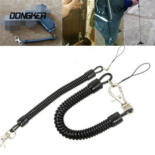 Tactical Retractable Plastic Spring Elastic Rope Outdoor Sports Camping Hiking Anti-lost Phone Keychain Flashlight Accessory