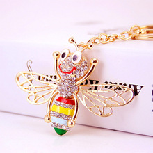 Enamel Cute Bee Crystal Rhinestone Keyrings cover  Key Chains Holder For Car Purse Bag Pendant Buckle Best Gift Keychains K246