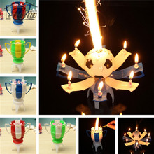 Amazing Musical Birthday Romantic Candle Rotating Football Cup Soccer Musical Candle Happy Birthday Party Cake 8 Light Candle