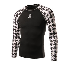 WHAT LEES new men's fashion turtleneck Houndstooth sleeve stitching long sleeved T-shirt riding clothes