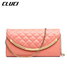 CLUCI Women Shoulder Bags Patent Leather Plaid Blue/Pink/Yellow/Green Envelope Shoulder Crossbody Bags for Evening Clutches(China)