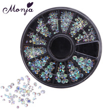 12 Grid/Wheel Multisize Nail Art Shiny Diamond Gems Style Rhinestone Beads Gel Polish Tips 3D DIY Manicure Jewelry Accessories