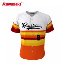 Kawasaki Men's Custom Fans Baseball jersey Top Stripes Full Buttons Sublimation Breathable Youth Practice Softball Shirt Jerseys(China)