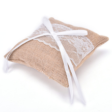 MENGXIANG Vintage Rustic Hessian & Lace Ring Pillow Hessian ring pillow Rustic Wedding Home Favors Decor(China)