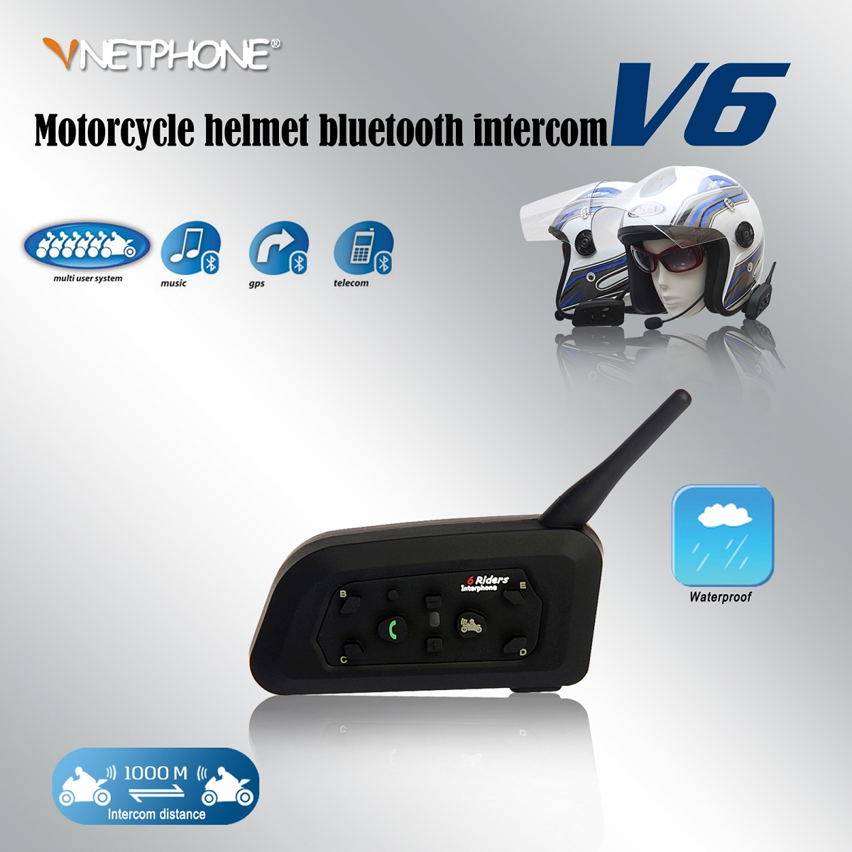 1200m 2PCS Wireless Bluetooth Motorcycle Helmet Intercom Interphone for 6 Riders BT Support 120km/h &amp; 7 Hours Navigation GPS<br><br>Aliexpress