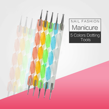 BlinkingNails 5 Colors Dotting Tool Set Nails Acrylic Tools Sets Liner Nail Art Pen Dot Pen Picker Rhinestones Nail-Drill-Set(China)