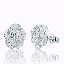e048  New Romantic Flower Pattern Ear Stud Fine Jewelry Silver Color Alloy Earrings Fashion Women Gift