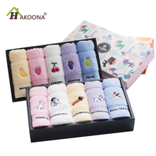 HAKOONA 5 Pieces/lot 50*24CM Cartoon Small Towels Cute Puppy Fruits 100% Cotton Hand Towels For Kids Child Gifts no Box(China)