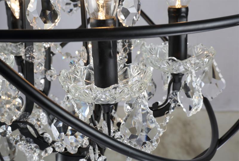 Retro pendant crystal iron ball shape Lamp E14 Nordic industry Vintage Loft american country Art _1Ceiling Lamp-11