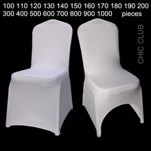 White Universal Stretch Polyester Wedding Party Spandex Chair Covers(China)