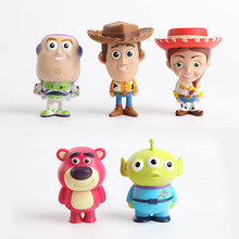 Super Cute Genuine Cartoon Toy Story Woody Buzz Lightyear Three Eyes Q Desktop Small Ornaments Toy Doll PVC figures Kids Gifts