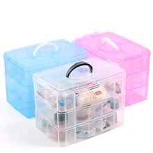 3 layer Transparent Storage Box Removable Dresser Finishing Groceries Makeup Cosmetic Box for Home Bathroom D1