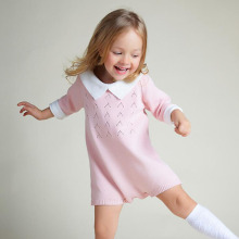 Spring Baby Girl Romper Autumn Overall For Girl Sweet Knitted Cotton Baby Jumpsuits Kids Costumes(China)